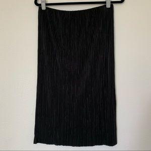 Topshop Black Micro Pleated Midi Skirt